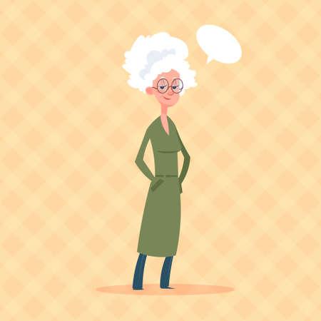 Mujer Senior con Chat Bubble Modern Grandmother Longitud total Lady Flat Vector Illustration