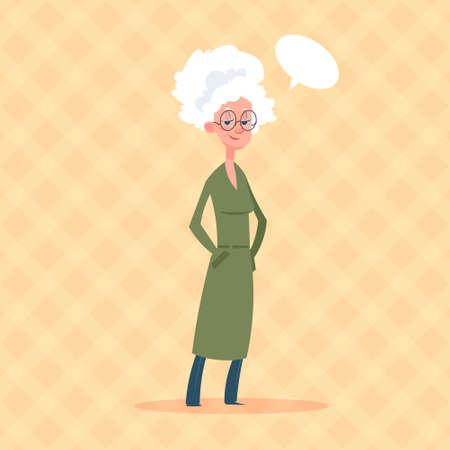 gray hair: Senior Woman With Chat Bubble Modern Grandmother Full Length Lady Flat Vector Illustration Illustration