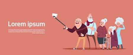 Gruppe älterer Leute, die Selfie-Foto mit Selbststock nehmen Moderner Großvater und Großmutter-flache Vektorillustration