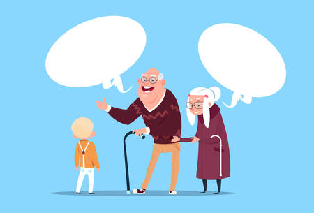 Happy Grandparents Couple With Grandson Communicating Modern Grandfather And Grandmother And Small Boy Flat Vector Illustration