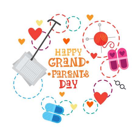 Ilustración feliz del vector de la bandera de la tarjeta de felicitación del día de los abuelos Foto de archivo - 85199513