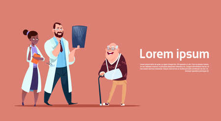 Senior Man On Consultation With Doctors Group, Pensioner In Hospital Health Care Concept Flat Vector Illustration Illustration