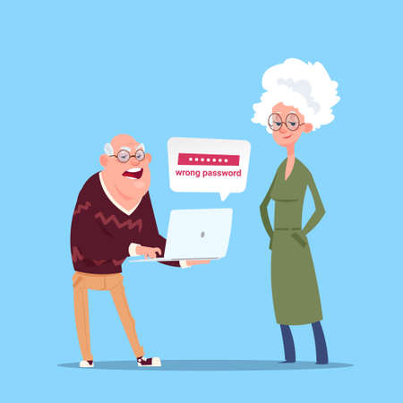 mature adult: Couple Senior People Using Laptop Computer Modern Grandfather And Grandmother Full Length Flat Vector Illustration