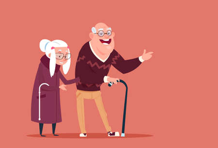 Couple Senior People Walking With Stick Modern Grandfather And Grandmother Full Length Flat Vector Illustration Illustration