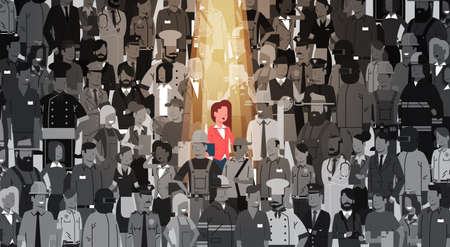Businesswoman Leader Stand Out From Crowd Individual, Spotlight Hire Human Resource Recruitment Candidate People Group Business Team Concept Vector Illustration Vetores