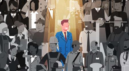 Líder empresario rodeado por una multitud de profesionales en la ilustración vectorial. El recurso humano recluta candidatos. Ilustración de vector