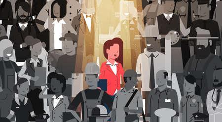사업가 지도자 군중에서 밖으로 서서 개인, 스포트 라이트 고용 인적 자원 모집 후보자 그룹 비즈니스 팀 개념 벡터 일러스트 레이션