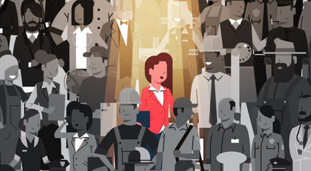 Businesswoman Leader Stand Out From Crowd Individual, Spotlight Hire Human Resource Recruitment Candidate People Group Business Team Concept Vector Illustration Imagens - 85165185