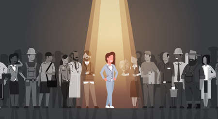 Businesswoman Leader Stand Out From Crowd Individual, Spotlight Hire Human Resource Recruitment Candidate People Group Business Team Concept Vector Illustration Vectores