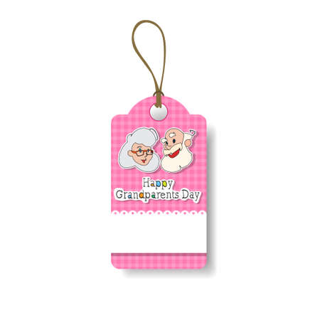 Pink tag with happy grandparents day text tied with string.