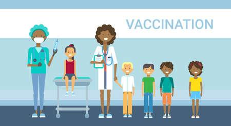 Doctor Vaccination Of Children, Illness Prevention Flat Vector Illustration Illustration
