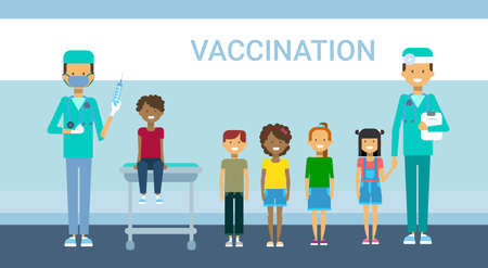 Doctor Vaccination Of Children, Illness Prevention Flat Vector Illustration