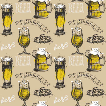 patric icon: Beer Glass Seamless Pattern Oktoberfest Festival Holiday Decoration Banner Vector Illustration Illustration