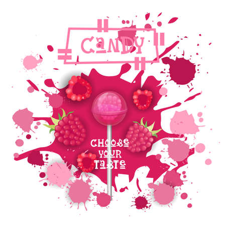 Candy raspberry lolly dessert colorful icon.