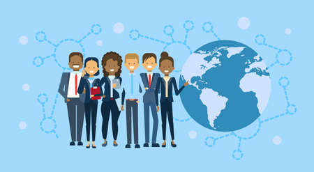 Diverse Group Of Businesspeople Over World Map Globe International Business People Team Concept Flat Vector Illustration Illustration