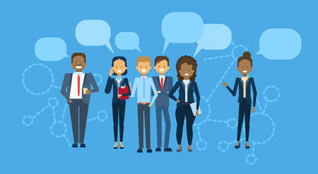Diverse Group Of Businesspeople With Chat Bubble Mix Race Business People Team Communication Concept Flat Vector Illustration