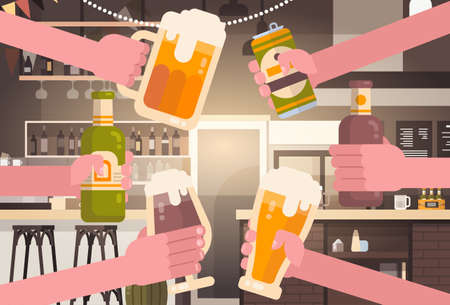 Group Of Hands Clinking Beer People In Pub Or Bar Restaurant Cheering Party Celebration Festival Concept Flat Vector Illustration