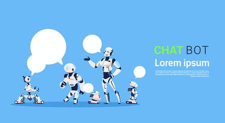 Chat Bot Group, élément d'assistance virtuel de robots du site Web ou d'applications mobiles, concept d'intelligence artificielle illustration vectorielle plane Banque d'images - 85540203