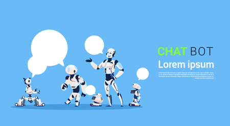 Chat Bot Group, Robots Virtual Assistance Element Of Website Or Mobile Applications, Artificial Intelligence Concept Flat Vector Illustration