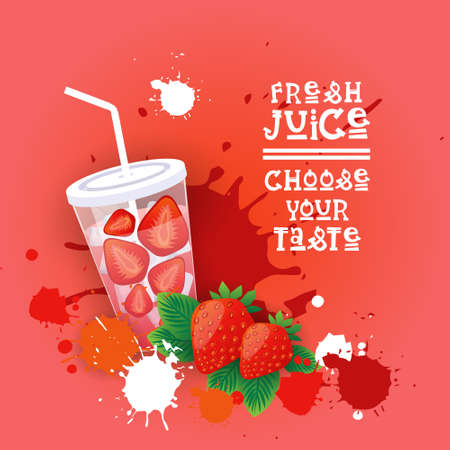 Fresh Juice Logo Healthy Vitamin Drink Bar Colorful Banner Flat Vector Illustration Illustration