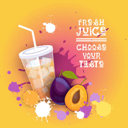 Fresh Juice Healthy Vitamin Drink Bar Colorful Banner Flat Vector Illustration