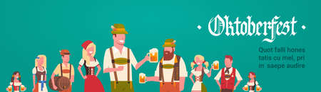 Group Of Man And Woman Wearing German Traditional Clothes Waiters Holding Beer Mugs Oktoberfest Party Concept Flat Vector Illustration Illustration