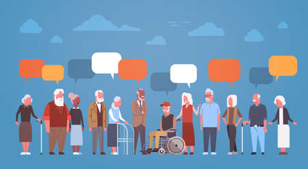 Group Of Senior People With Chat Bubble Grandfather And Grandmother Full Length Flat Vector Illustration