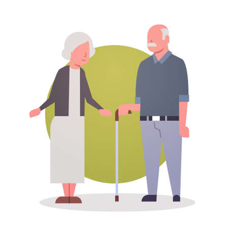 Senior Man And Woman Couple Grandmother And Grandfathr Gray Hair Icon Full Length Flat Vector Illustration