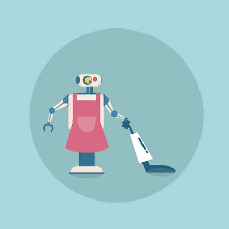 communication cartoon: Modern Robot Cleaning With Vacuum Cleaner Icon, Futuristic Artificial Intelligence Mechanism Housekeeping Technology Flat Vector Illustration Illustration