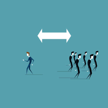Businessman Walking To Different Side Of Arrow From Business People Group Flat Vector Illustration