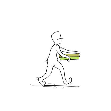 Courier Man Carry Pizza Box Food Delivery Service Doodle Vector Illustration Illustration