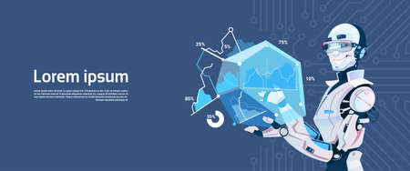 communication cartoon: Modern Robot Hold Loading Graphic Diagram, Futuristic Artificial Intelligence Mechanism Technology Flat Vector Illustration