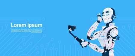 Modern Robot Taking Selfie Photos, Futuristic Artificial Intelligence Mechanism Technology Flat Vector Illustration