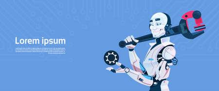 communication cartoon: Modern Robot Hold Hold Spanner Wrench, Futuristic Artificial Intelligence Mechanism Technology Flat Vector Illustration