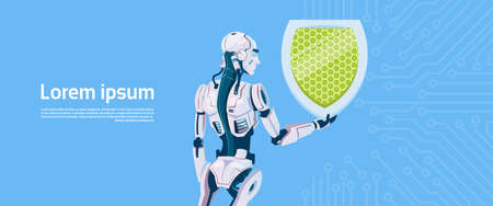 communication cartoon: Modern Robot Hold Shield Data Protection Concept, Futuristic Artificial Intelligence Mechanism Technology Flat Vector Illustration