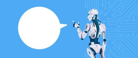 communication cartoon: Modern Robot With Chat Bubble, Futuristic Artificial Intelligence Mechanism Technology Flat Vector Illustration