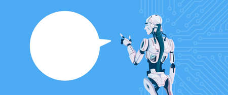 Modern Robot With Chat Bubble, Futuristic Artificial Intelligence Mechanism Technology Flat Vector Illustration