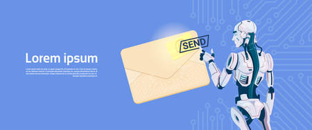 electronic background: Modern Robot Hold Envelope Sending Email Message, Futuristic Artificial Intelligence Mechanism Technology Flat Vector Illustration Illustration