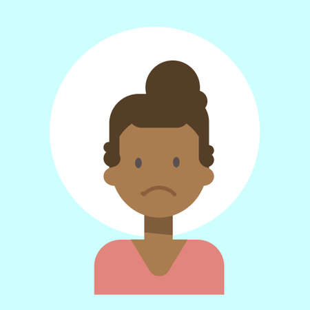 African American Female Sad Emotion Profile Icon, Woman Cartoon Portrait Face Vector Illustration