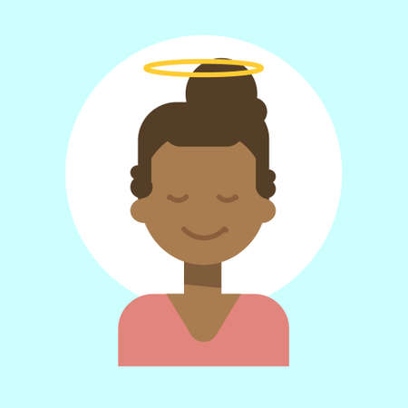African American Female With Angel Nimbus Emotion Profile Icon, Woman Cartoon Portrait Happy Smiling Face Vector Illustration