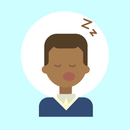 African American Male Sleeping Emotion Profile Icon, Man Cartoon Portrait Happy Smiling Face Vector Illustration