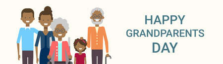 Happy Grandparents Day Greeting Card Banner Big African American Family Together Vector Illustration