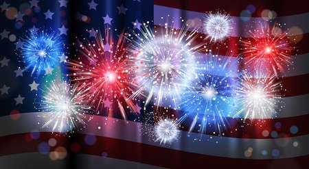 Firework Over USA Flag Background National Holiday Celebration United States Of America Independence Day Flat Vector Illustration Illustration