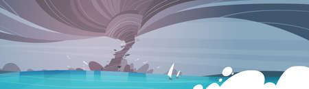 waterspout: Tornado Incoming From Sea Hurricane In Ocean Beach Landscape Of Storm Waterspout Twister Natural Disaster Concept Flat Vector Illustration