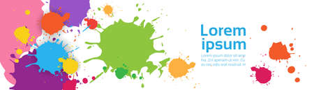 Abstract Paint Splash Set Over White Background For Copy Space And Text Flat Vector Illustration