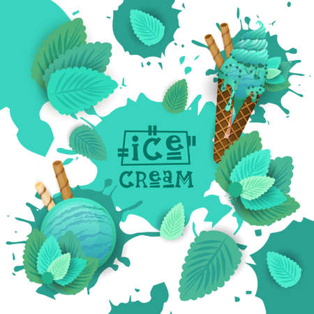 Ice Cream With Mint Taste Dessert Colorful Poster Vector Illustration