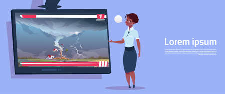 African American Woman Leading Live TV Broadcast About Tornado Destroying Farm Hurricane Damage News Of Storm Waterspout In Countryside Natural Disaster Concept Flat Vector Illustration Vectores