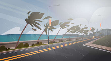 Tornado Incoming From Sea Hurricane In Ocean Huge Wind Over Palm Trees And Road Tropical Natural Disaster Concept Flat Vector Illustration 免版税图像 - 85817562