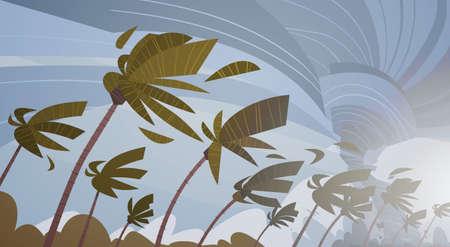 ヤシの木の上に空に竜巻を旋回ハリケーン巨大な風嵐熱帯自然災害コンセプトフラットベクトルイラスト  イラスト・ベクター素材