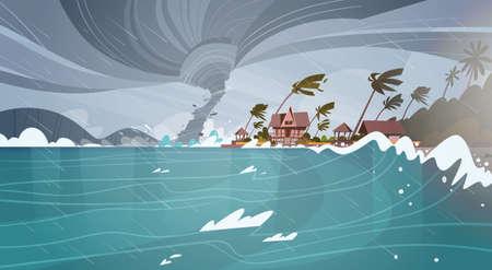 Tornado entrant de la mer Hurricane dans l'océan Ondes énormes sur les maisons sur la côte Concept des catastrophes naturelles tropicales Plat Illustration vectorielle Banque d'images - 85817566